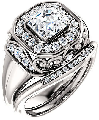 2 ct, 1.51 ct GIA G VS1 Asscher cut & round Diamond 14k White Gold Halo Ring