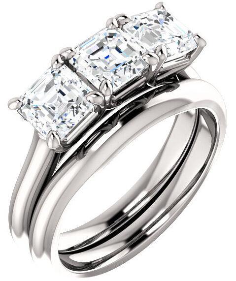 1.8 ct 3 Asscher Diamond GIA E VS2 0.60 ct each Wedding Ring 14k White Gold Band