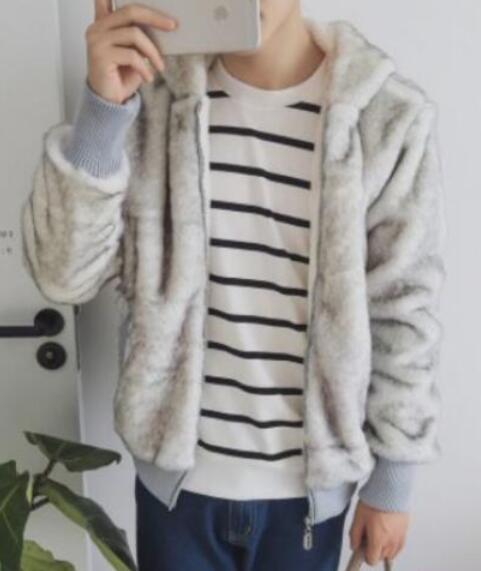 Korea Mens Winter Clothing Fur Hooded Short Coat Cotton Padded Jacket Warm A16