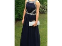 Navy Prom Dress with Beading Detail Size 8