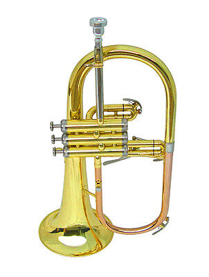 NEW  BRASS  FLUGEL HORN w/CASE. WARRANTY.MONEL VALVE