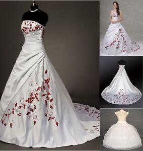 Weiss-Rot-Hochzeitskleid-Brautkleid-Ballkleid-Abendkleid-Gr-34-36-38 ...