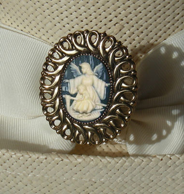 HATPIN WITH ANGEL & CHILD CAMEO ON BRASS FINISH LADIES HAT PIN Cameo Brass Finish