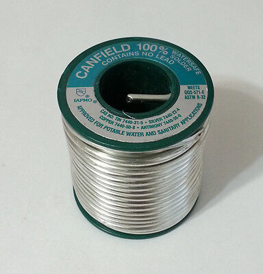 1lb Spool Canfield 100 Watersafe Lead Free .125in Dia. Silver Solder 85310 New