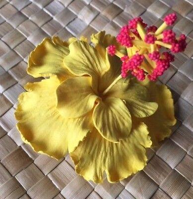 Hawaiian Foam Hibiscus DOUBLE PETALS Flower Hair CLIP Wedding Bridal Luau YELLOW