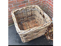 Extra large square wicker basket with handles