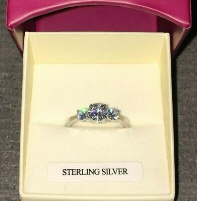 UK 925 Sterling Silver created Diamond Trio Engagement style Ring Sizes K - Q
