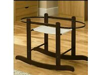 Kinder valley Rocking moses basket stand. Walnut. Brand new in sealed boxes. Fits all moses baskets.