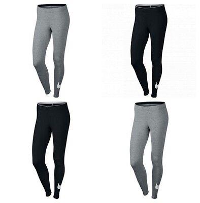 Nike Womens Leggings Yoga Pants Running Ladies Sports Training Swoosh Black Grey