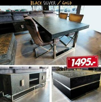Black Gold/Silver Tafel set Eettafel salontafel tv unit 1495