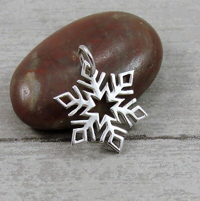 925 Sterling Silver Snowflake Charm - Winter Christmas Blizzard Pendant -
