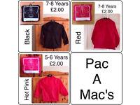 KIDS/BOYS/GIRLS ~ PAC A MAC/RAIN COAT ~ 5-5/7-8 YEARS