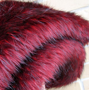 Cherry-Bomb-Faux-Fur-1-2-Mtr-50-X-140CM-Incredible-Red-Black-Bear-Fabric