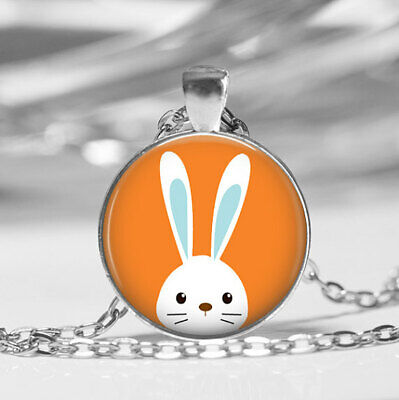 Peekabo Bunny Glass Photo Pendant Necklace Rabbit Jewelry Easter Bunny (Rabbit Photo Gift)