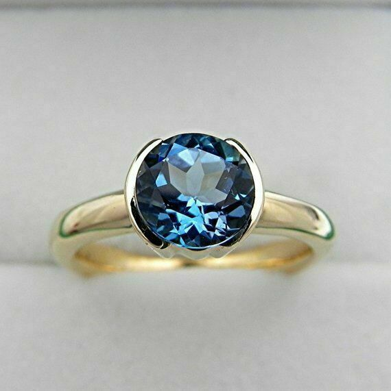 2Ct Round Cut London Blue Topaz Solitaire Engagement Ring 14K Yellow Gold Finish - $88.86