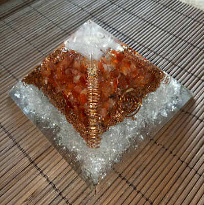 Natural Organite Selenite Carnelian And Crystal Combination Orgone Pyramid 70Mm
