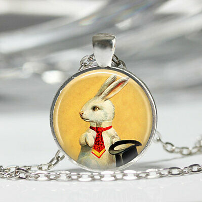 White Rabbit Necklace Magician's Jewelry Bunny Top Hat Magic Trick Art - White Rabbit Top Hat