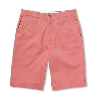 Salmon Twill Flat Front Shorts