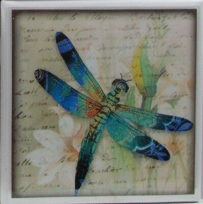 - Set of 4 - Natural Stone Ceramic Tile Marble Drink Coasters  - Dragonfly's 2 B