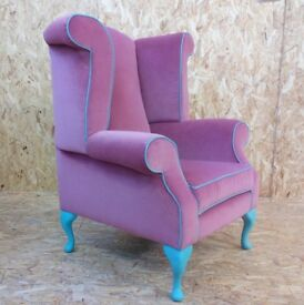 Bespoke Pink Wingback Chair, new handmade