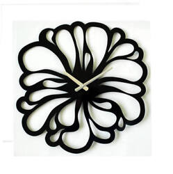 Metal Wall Clock Modern Unique Large Black Flower Home Decor FREE SHIPPING