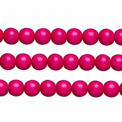 Бисер Wood Round Beads Dark Pink