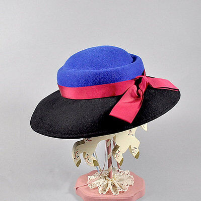 Vintage 1960s Wool Felt Black and Blue Hat with Red Ribbon. Wide Brim - Red And Black Fedora Hat
