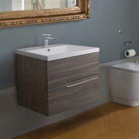 Lincoln 600 basin & Vermont wall hung vanity unit (grey) - Bathstore (RRP £569)