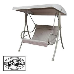 NEW HB PORCH 2 PERSON PATIO SWING HAMPTON BAY LIGHT BROWN SWINGS BACKYARD OUTDOOR LIVING CHAIR CHAIRS SEAT SEATS