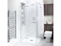 BRAND NEW 800 Bathstore shower cubicle - Liquid hinge door (RRP£649)&side panel (RRP£389) 8mm thick
