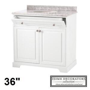 "NEW* HIGHCLERE 36"" VANITY COMBO 9554100410 140389853 HOME DECORATORS WHITE CABINET MARBLE VANITY TOP BATHROOM BATH CA..."