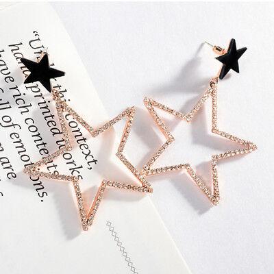 Women Lady Crystal Rhinestone Dangle Gold Star Ear Stud Earring Jewelry](Gold Star Jewelry)