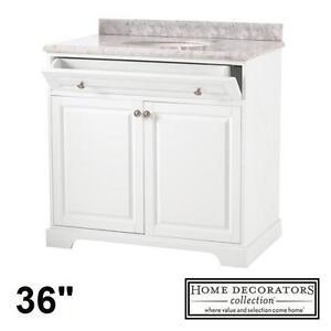 "NEW* HDC 36"" MARBLE VANITY COMBO - 122090581 - HIGHCLERE WHITE CABINET MARBLE VANITY TOP BATHROOM BATH CABINETS VANITIES"