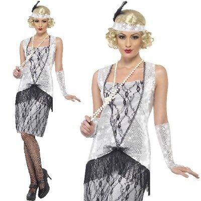 Damen 1920er Jahre Flapper Schicke Verkleidung Kostüm Charleston Outfit Silber