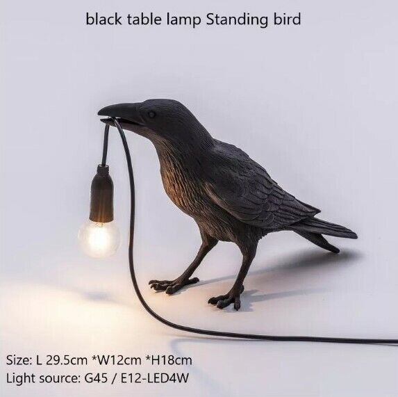 BLACK Crow Animal Night Office Working Lamp Designer Resin LED Bulb Aus Plug