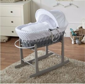 Grey wicker Moses basket with rocking stand brand new