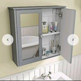 The Bath Co.Camberleysatin grey wall hung bathroom mirror cabinet