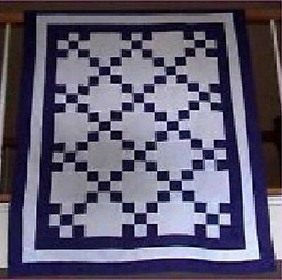 50x40 Purple White ~Wheelchair Crib Lap Wall Throw Pieced ~Irish Chain Quilt Top