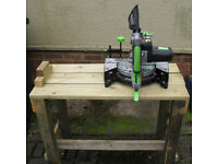 Mitre Cutter EVOLUTION FURY and home-made bench. Multi-purpose Diamond Blade (cuts wood AND Metal).