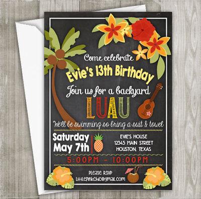 Hula Luau Birthday Party Invitations - (SET OF 4) -PRINTED INVITATIONS
