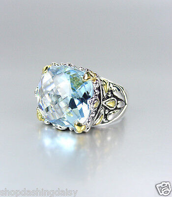 *NEW* Designer Inspired Blue Topaz CZ Crystal Silver Gold Balinese Filigree Ring