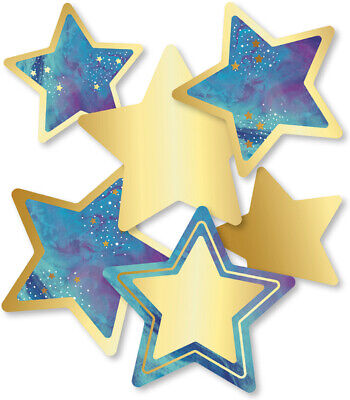 CD 120571 Galaxy Style Gold Foil Star Cut Outs Classroom Decorations