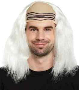 Mad-Professor-White-Wig-Halloween-Bald-Cap-Fancy-Dress-Costume-Doc-Emmett-Brown