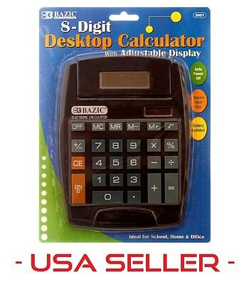 Large 8-Digit Jumbo Calculator Big Button Desktop Math Display Solar Battery