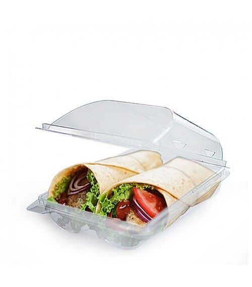 40 X Clear Plastic Hinged Tortilla Wrap Sleeve Holder Takeaway Food Lunch  Deli
