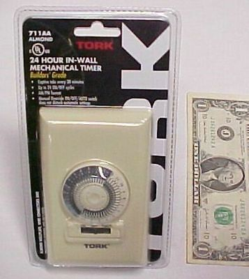 24 Hour Mechanical In-wall Timer 15a Tork 711aa Ul Listed 1000w Tungsten 13 Hp