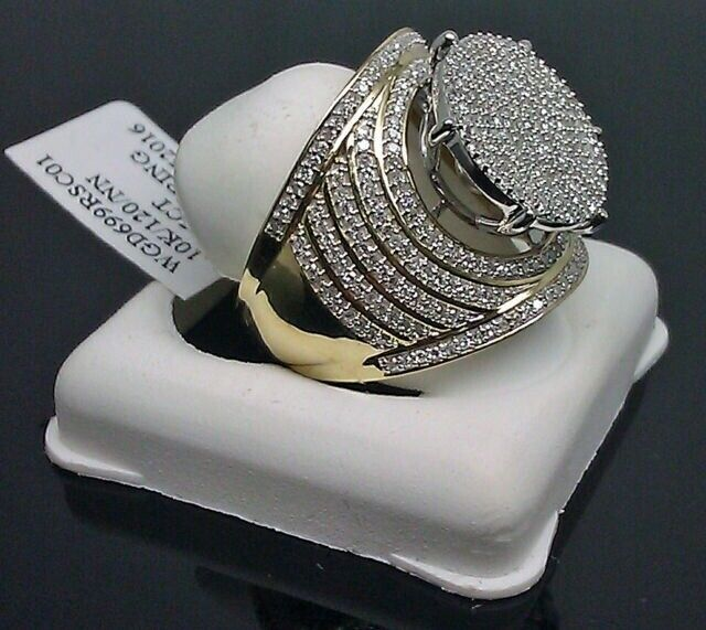 Vintage 10K Yellow Gold Filled White Sapphire Ring Women Men
