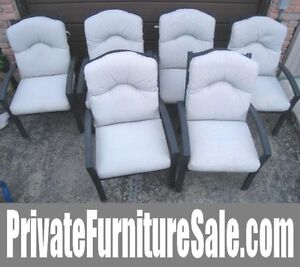6 ALUMINUM (Don't rust) Patio Chairs with Cushions, stackable