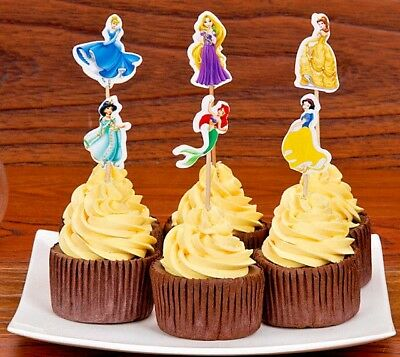 Disney Princess Cupcake Double-Sided Toppers Party Decorating Favor Set Of 24