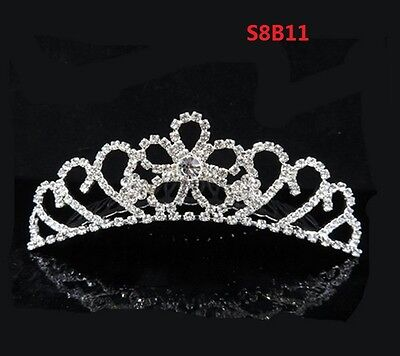 Child Tiara - Rhinestone Tiara Crown Princess Flower Girl Children Birthday Wedding Comb S8B11